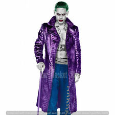 Suicide Squad Joker Abrigo de cuero púrpura Jared Leto textura de cocodrilo Chaqueta Larga