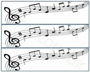 Musical Notes Edible Cake Side Strips or Ribbon on Icing Sheet Paper Music