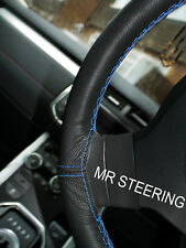FITS PEUGEOT 106 BLACK LEATHER STEERING WHEEL COVER LIGHT BLUE DOUBLE STITCHING