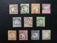 """Germany #1-11 Used, 1872 """"Small Shields"""" Complete,  Scott Catalog Value $ 936.00"""