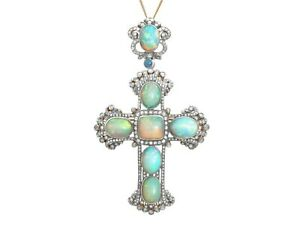 Antique 20.34ct Opal and 4.63ct Diamond Silver Gilt Cross Pendant Brooch 1860s