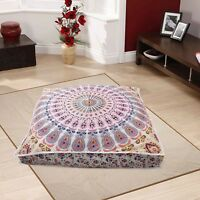 Indian Square Urban Mandala Design Floor Pillow Cover Ottoman Pouf Cushion Case