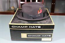 Vintage 1950's Champ Fur Felt Fedora Hat Cap W/ Box Black 7 3/8 Runs Small Envoy