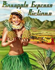 """Pineapple Express Airlines, 16x20  unmatted & rolled Print by artist Garry Palm"