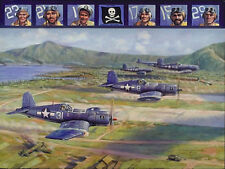 """Fighting 17"" Jim Laurier 'Jolly Rogers' Corsair Print signed by 3 VF-17 Pilots"