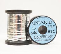 """Mylar Tinsel UNI 3/64"""" = 1,2mm #12 zweifarbig GOLD/SILVER"""