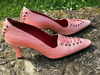 luxueux escarpins cuir croco rose talon 8 cms FREE LANCE pointure 38 fr UK 5
