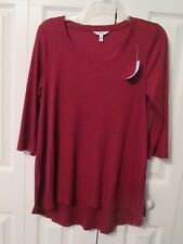 NWT Sonoma Woman's 3/4 Sleeve Brick Red Ribbed Hi Low Scoop Neck Top, Size M