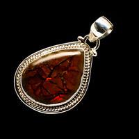 "Ammolite 925 Sterling Silver Pendant 1 1/2"" Ana Co Jewelry P715237F"