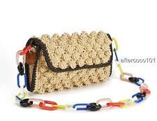 Missoni M Raffia Knit shoulder bag Clutch Tote New authentic