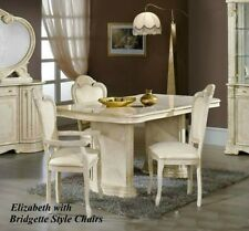 Elizabeth Italian Beige/Cream Dining Table and 6 Chairs Italian Made Furniture