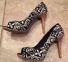 NEW Womens Black And Cream Stiletto Heels - Size 11  - Peep Toe Ladies Shoes