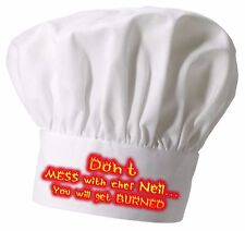 Personalised Don't mess with Chef Hat  Great Christmas gift Full colour printing