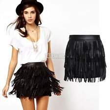 NEW LADIES HIPPIE BOHO FESTIVAL BLACK LEATHER FRINGE TASSEL SKIRT 3 LAYERS S-XXL