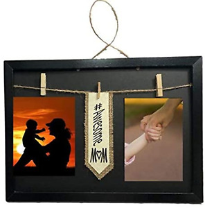 #Awesome Mom Frame with Clothespin Clips for Two 4 x 6 inch Collage Photo Black