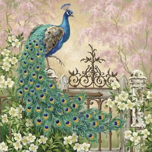 20 Paper Party Napkins Noble Peacock Pack of 20 3 Ply Serviettes Birds