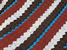 New! Handmade Crochet Blanket Lap Throw Afghan - turquoise, copper, brown