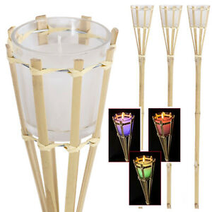 Citronella Scented Garden Candle Colour Changing Torch Bamboo Mosquito Insect
