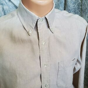 M Vintage Brooks Brothers All Irish Linen Front Button Long Sleeve Shirt Size M