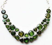 Silver and Green Crystal Statement Necklace in Gift Box