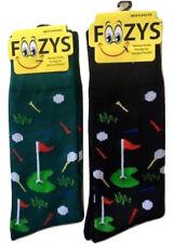 Foozys Putting Green Golf Fun Men's Socks 2 Pair One Black +One Green Size 10-13