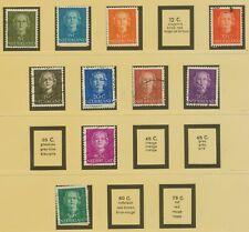 NIEDERLANDE 1949/50 Königin Juliana 10 verschiedene gestempelte Pra.-/Kab.-Werte