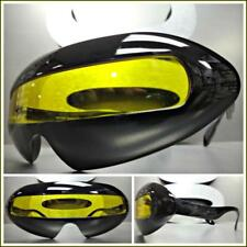 SPACE ROBOT PARTY RAVE COSTUME CYCLOPS FUTURISTIC SHIELD SUN GLASSES Yellow Lens