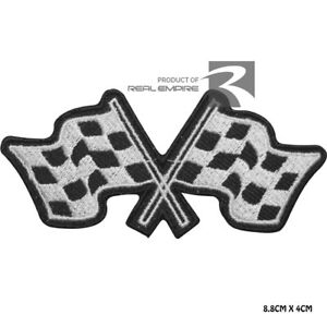 Formula 1  Motor Sport Racing Finish Flag Iron On Sew On Embroidered Patch Badge
