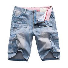 FOX JEANS Men's Nelson Denim Blue Cargo Shorts Mens Jeans Shorts SIZE 32-44