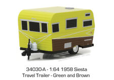 1/64 GREENLIGHT Hitched Homes Series 3 1958 Siesta Travel Trailer in Green and B