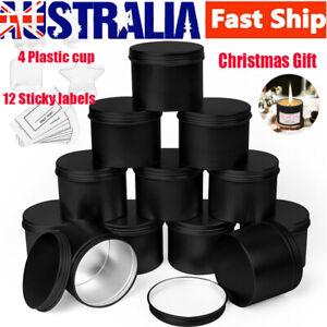 16x Black Candle Making Tins 100ml Empty Storage Jars w/Screw Lids Gift AU Stock