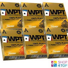 6 DECKS OF FOURNIER WPT GOLD EDITION WORLD POKER TOUR PLASTIC PLAYING CARDS BOX