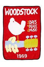 Woodstock Fleece Throw Blanket 1969 Logo 50x60 Hippie Gifts