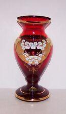 """CASSOVIA DED SLOVAK ART GLASS RUBY GOLD ENAMEL HANDPAINTED FLOWERS 10"""" VASE"""