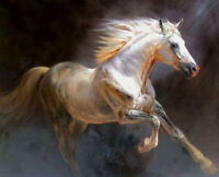 ZWPT535 100% handmade-painted runing animals horse art oil painting canvas