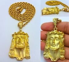 "MENS GOLD JESUS FACE PENDANT 4MM 30"" STAINLESS STEEL ROPE CHAIN NECKLACE"
