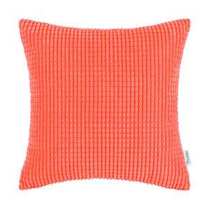"CaliTime Cushion Covers Pillow Case Solid Soft Corduroy Corn Stripes Sofa 24x24"""