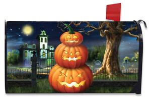Spooky Jack O'Lanterns Halloween Magnetic Mailbox Cover Carved Pumpkins Standard