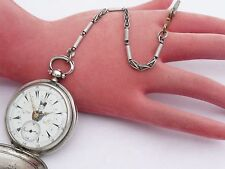 RARE ANTIQUE 44MM SILVER TURKISH OTTOMAN BILLODES ZENITH POCKET WATCH & CHAIN