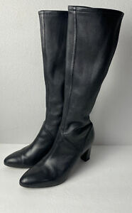 Cole Haan Air Women's Stretch Black Leather Pull On Knee High Boots 9 B