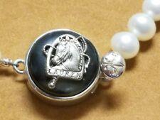 Ralph Lauren Black onyx  Button Bracelet in Sterling Silver w/Freshwater Pearls