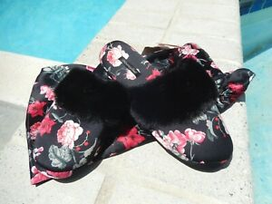 THE SIMPLY FABULOUS VICTORIA`S SECRET FLORAL SLIPPERS SZ 7/8 IN BAG