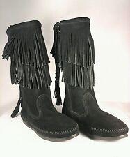 MINNETONKA Boots 2 Layer Calf Hi Fringe Boots 1689 Black Women's US 6/ 36.5 $89