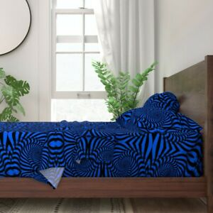 Electric Blue Swirls Black And Blue 100% Cotton Sateen Sheet Set by Roostery