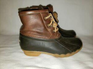 Sperry Saltwater Duck Boots Brown Navy Zip Waterproof Youth Size 11M CG55362