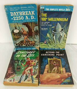 ACE Doubles Vintage Science Fiction Novels, Lot Of 4, 7 Titles In All