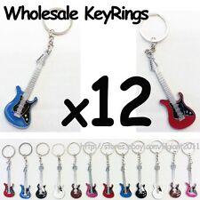 Wholesale Lot 12 Guitar Design Key Rings Key Chains Musical Souvenir Gift