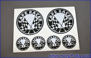 Silver CAFE RACER Chequered Flag Stickers Decals Kit Enfield CB750 Ducati 500