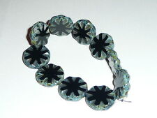Wonderful Large Czech Glass Black Carved Coin Beads  (10) 18mm