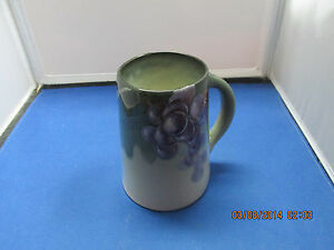 """Vintage Weller Pottery 5 3/8"""" Mug with Deep Purple Grapes  Signed  Beautiful"""
